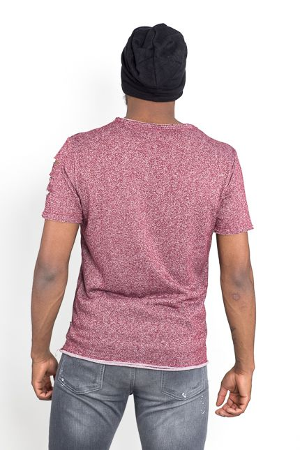 Jaza Fashion Jaza Fashion Men's T-Shirt Basic Regular Destroyed Torn Purple