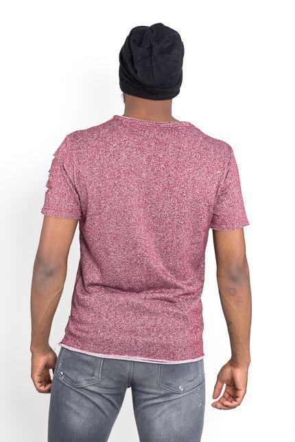 Jaza Fashion Jaza Fashion Tee shirt Homme Basique Régulièrement Détruit Déchiré Pourpre