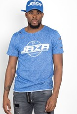Jaza Fashion Jaza Fashion Men's T-Shirt Basic Regular Destroyed Ripped Blue