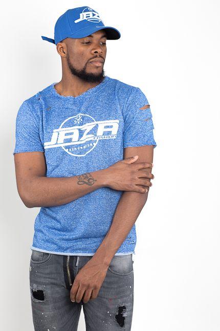 Jaza Fashion Jaza Fashion Herren T-Shirt Basic Regulär Destroyed Zerrissen Blau