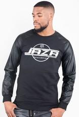 Jaza Fashion Jaza Fashion Pull molletonné à glissière sur le côté des manches longues en cuir pour hommes