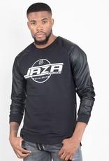 Jaza Fashion Jaza Fashion Herren Sweatshirt Pullover seitlicher Reißverschluss Langarmshirt Rundhals mit PU-Leder Ärmel