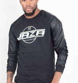 Jaza Fashion Jaza Fashion Men's Sweatshirt Pullover Side Zipper Long Sleeve Round Neck With PU Leather Sleeves