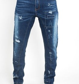Jaza Fashion Bleach Wash Straight Leg Painted Ripped Jeans - Denim Blue