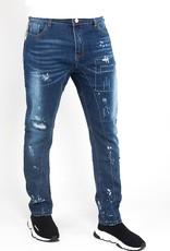 Jaza Fashion Bleach Wash Straight Leg Painted Ripped Jeans - Denim Blue