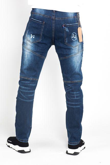 Jaza Fashion Bleach Wash Straight Leg lackiert Ripped Jeans - Denim Blue