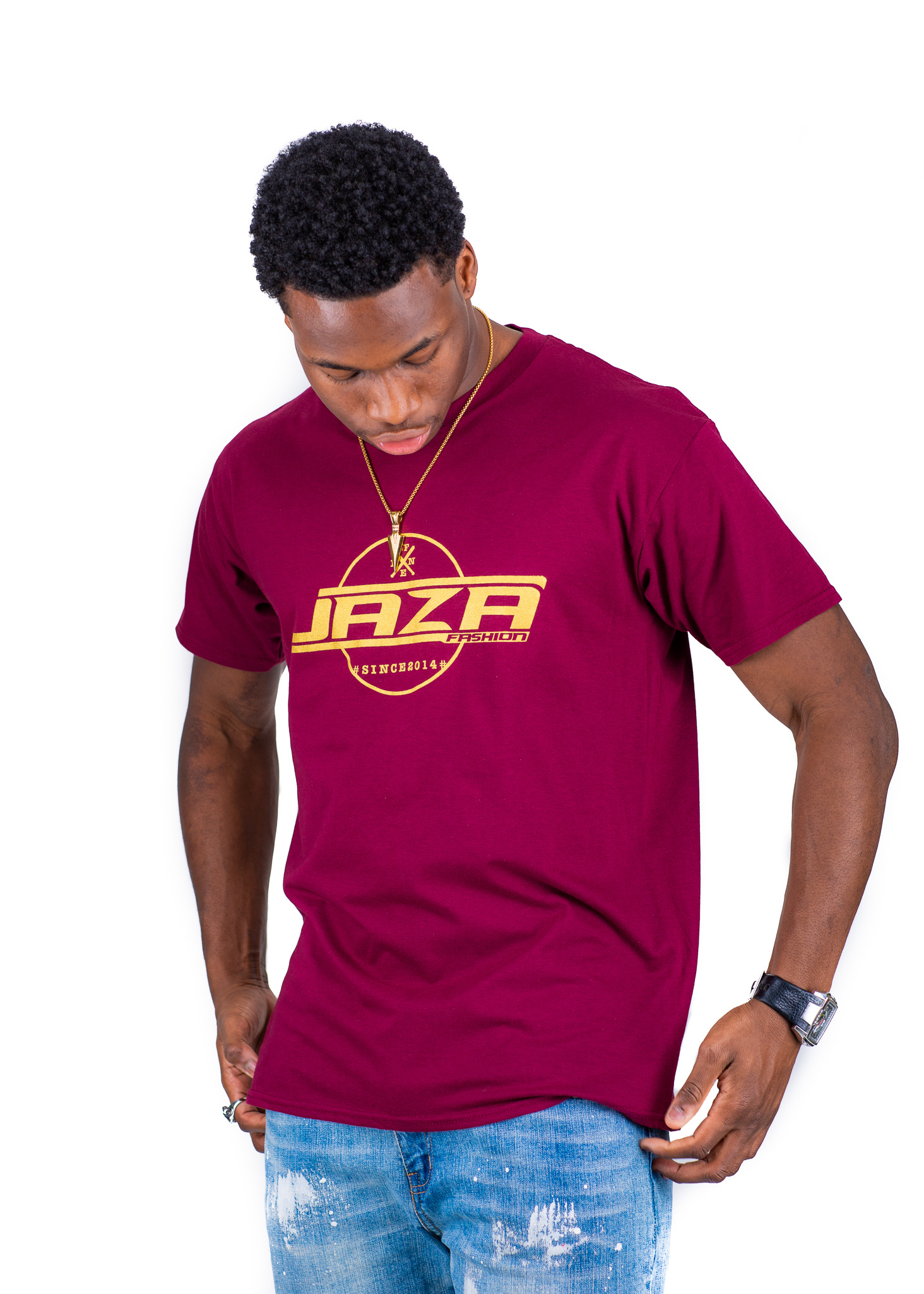 Jaza Fashion Jaza Fashion Herren T-Shirt in Bordeaux Rot
