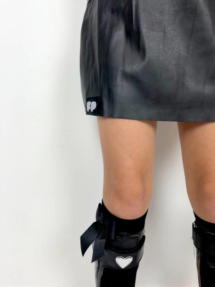 From Paris GIRL SWEATSHIRT DRESS × BLACK FABRIC / LEATHER