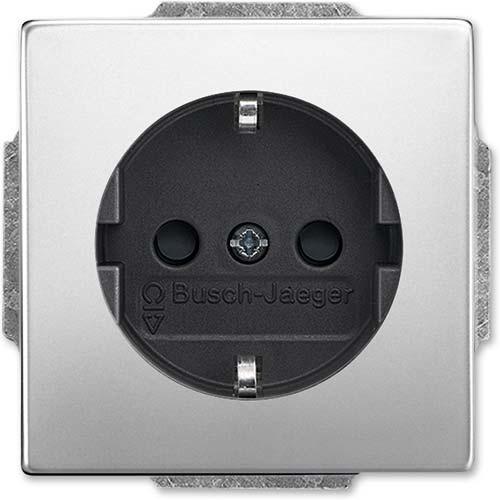 Busch-Jaeger wandcontactdoos randaarde kindveilig Pure Stainless Steel (20 EUCKS-866)