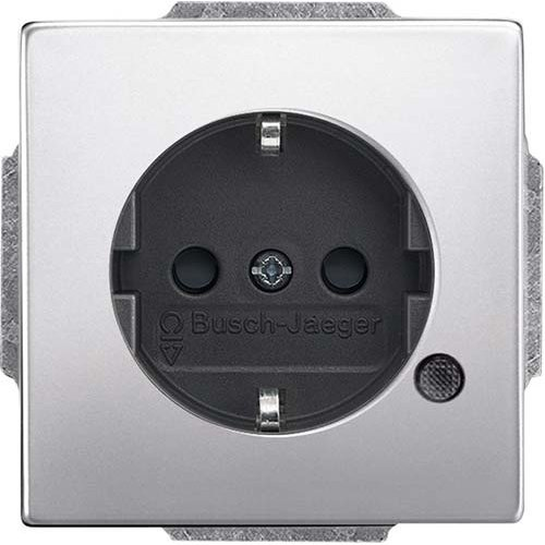 Busch-Jaeger wandcontactdoos randaarde LED-controleverlichting Pure Stainless Steel (20 EUCBL-866)