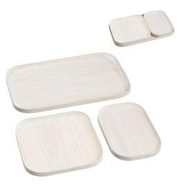 Mascagni MASCAGNI A757 - 3 houten plateautjes wit