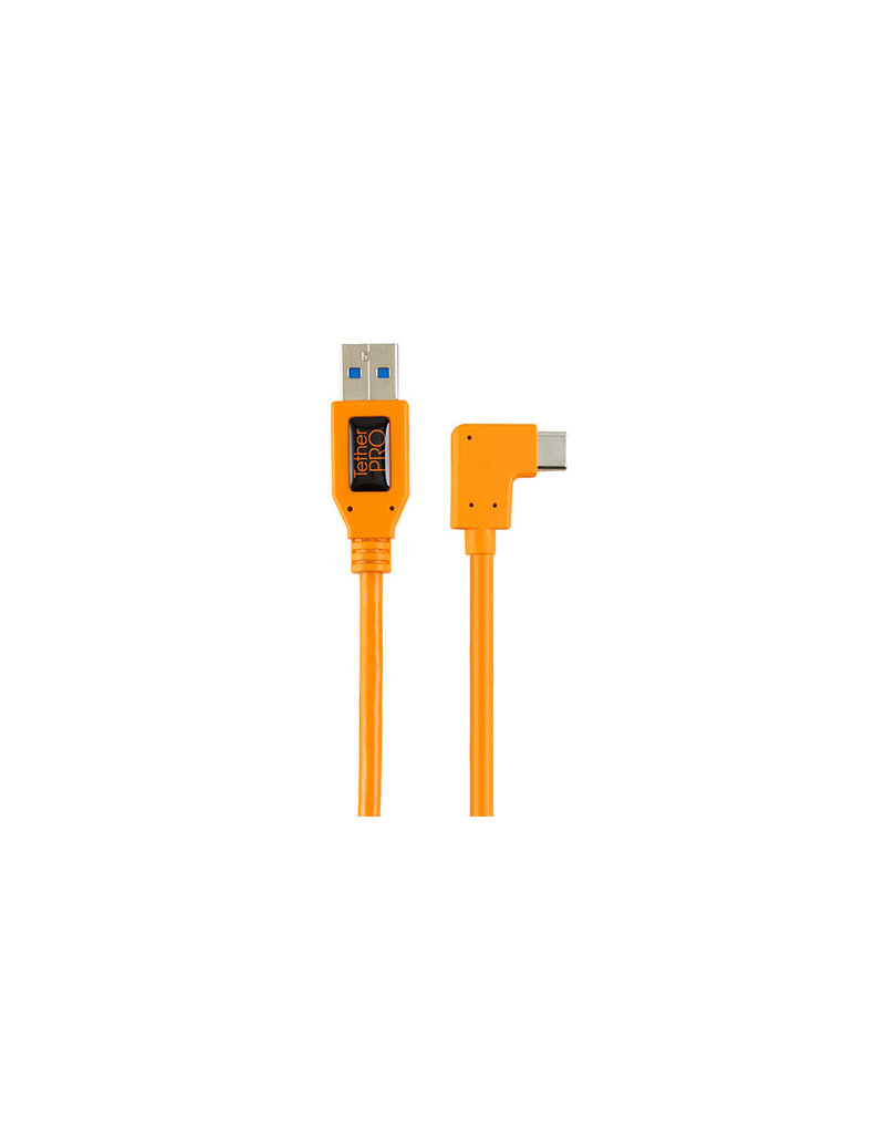"TetherTools Tethertools TetherPro USB 3.0 to USB-C Right Angle Adapter ""Pigtail"" Cable, 20"" (50cm), High-Visibilty Orange"