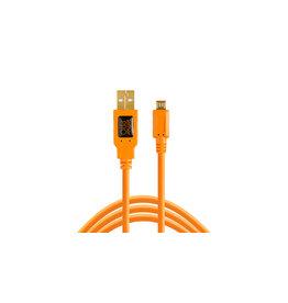 TetherTools TetherPro USB 2.0 to Micro-B 5-Pin, 15' (4.6m), High-Visibility Orange