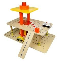 Houten speelgoed garage met lift, Mentari