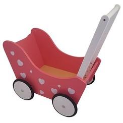 Houten Poppenwagen met hartjes, Roze