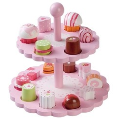 Houten Etagere met bonbons, roze
