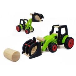 Houten tractor met hooibaal