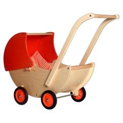 Houten Poppenwagen Oranje, van Dijk Toys