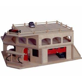 Van Dijk Toys Houten Garage met 3 verdiepingen en roldeur