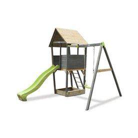 Exit EXIT Aksent houten speeltoren met schommel - grijs