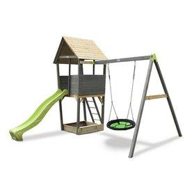 Exit EXIT Aksent houten speeltoren met nestschommel