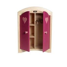 Van Dijk Toys Poppenkledingkast Roze, van Dijk Toys, 3 kledinghangers GRATIS