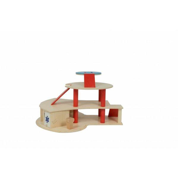 Van Dijk Toys Speelgoedgarage met helicopterplatform en hulpdiensten, van Dijk Toys