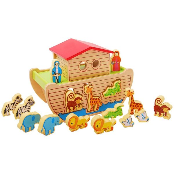 Ark van Noach vormenfiguur; inclusief 14 dieren en 2 figuren