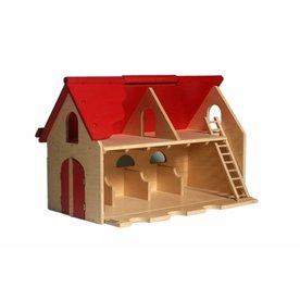 Van Dijk Toys Houten Boerderij met scharnierend dak
