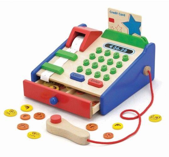 Houten Speelgoedwinkel en houten speelgoed kassa