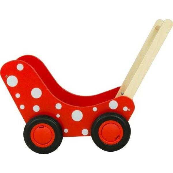 Van Dijk Toys Poppenwagen Rood met witte stippen