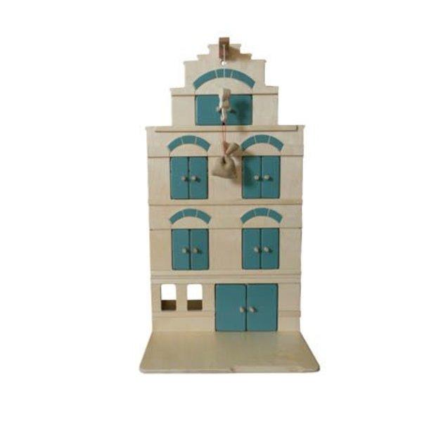 Van Dijk Toys Houten Pakhuis Groen- Blauw, van Dijk Toys