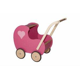 van Dijk Toys Houten Poppenwagen Roze, dicht hart
