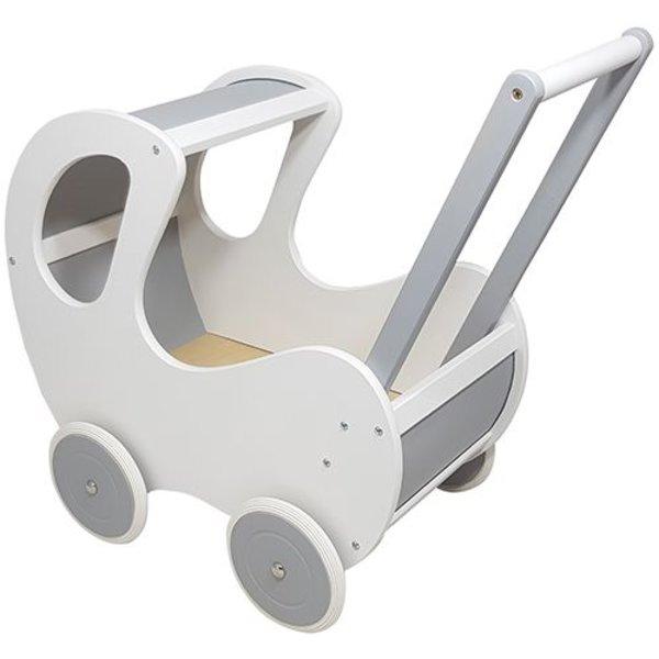 Playwood Poppenwagen wit - zilver klassiek; exclusief dekje