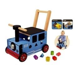 Houten Loopwagen Trein blauw; I'm Toy