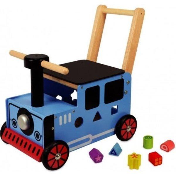 I'm Toy  Houten Loopwagen Trein blauw; I'm Toy