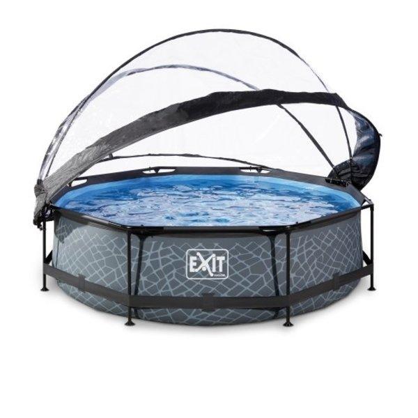EXIT zwembad ø300x76cm met overkapping en filterpomp