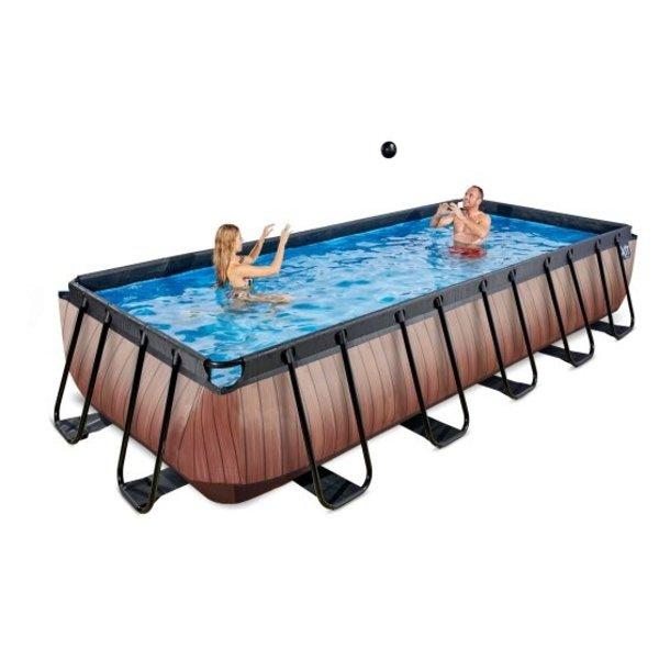 EXIT zwembad Wood 400x200cm zonder pomp en trap - bruin
