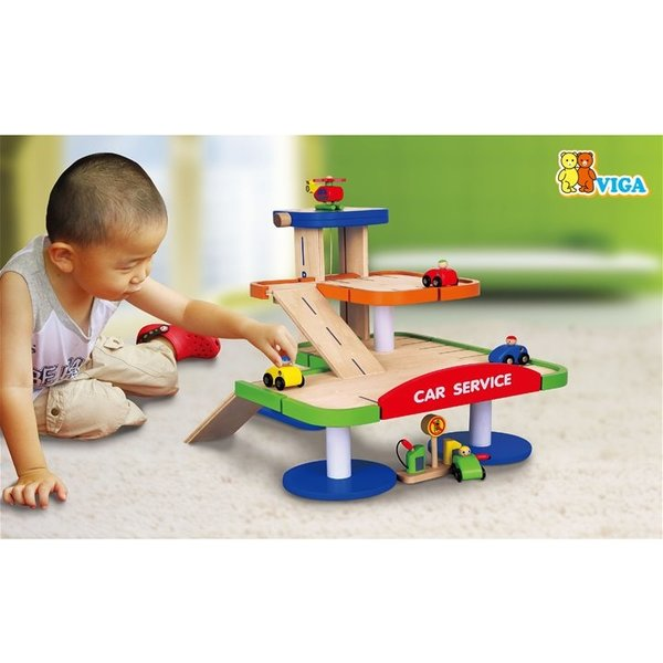 New Classic Toys viga toys - houten parkeergarage met etage en car wash