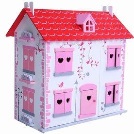 Playwood Poppenhuis wit/roze inclusief meubels