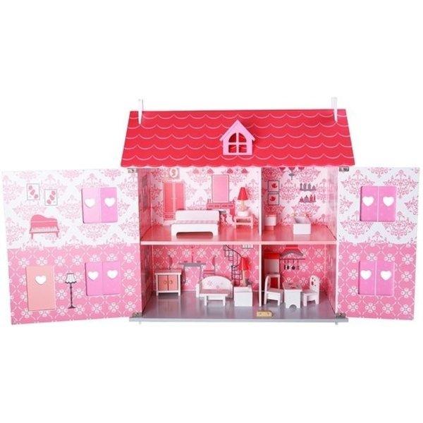 Playwood Poppenhuis wit/roze inclusief meubels; Openklapbare voorkant