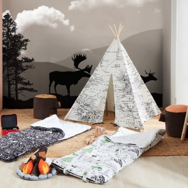 Sunny Wereldkaart Tipi Tent Zwart/wit