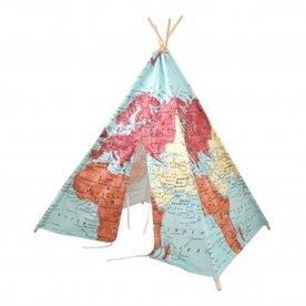 Sunny Wereldkaart Tipi Tent Multikleur