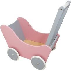 Houten Poppenwagen Roze-Zilver