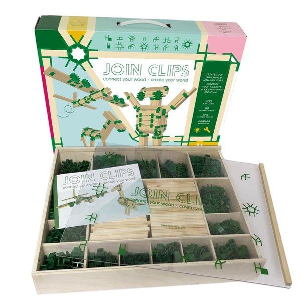Join Clips Join Clips, 1 houten kist 400 clips + 80 houten plankjes  en voorbeelden