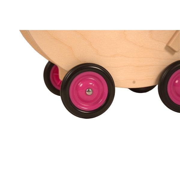 Van Dijk Toys Houten Poppenwagen Roze, met vaste kap, van Dijk Toys