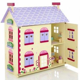 Playwood Poppenhuis cottage inclusief meubels, Playwood