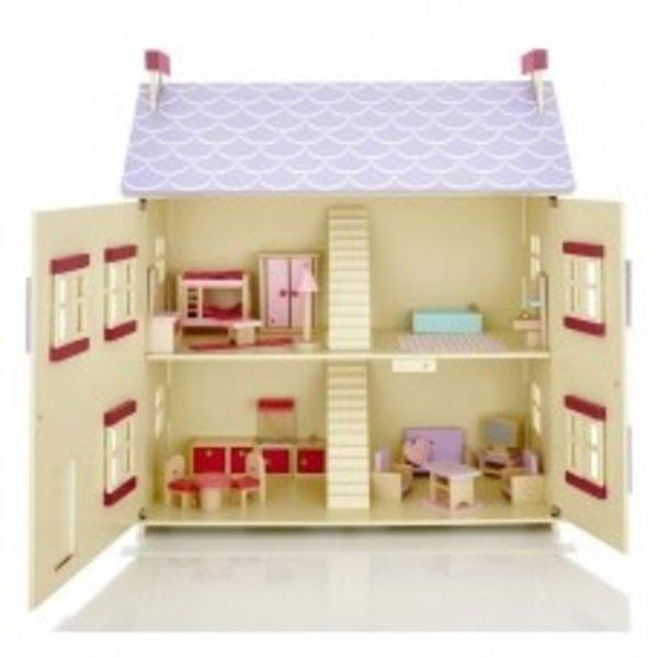 Playwood Poppenhuis cottage inclusief meubels; Openklapbare voorkant
