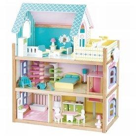 Mentari Poppenhuis blauw inclusief meubels; Mentari