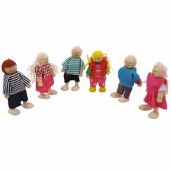 Poppenhuispoppetjes, vader, moeder, 8 kinderen, opa en oma
